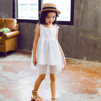 2017 Summer Kids Girl Sleeveless Dress Baby Girls Beach Sundress For Vocation And Wedding Party White