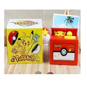 Image 5 - Marka nowy Pokemon elektronicznych plastikowa skarbonka ukraść monety skarbonka sejf na pieniądze na urodziny biurko
