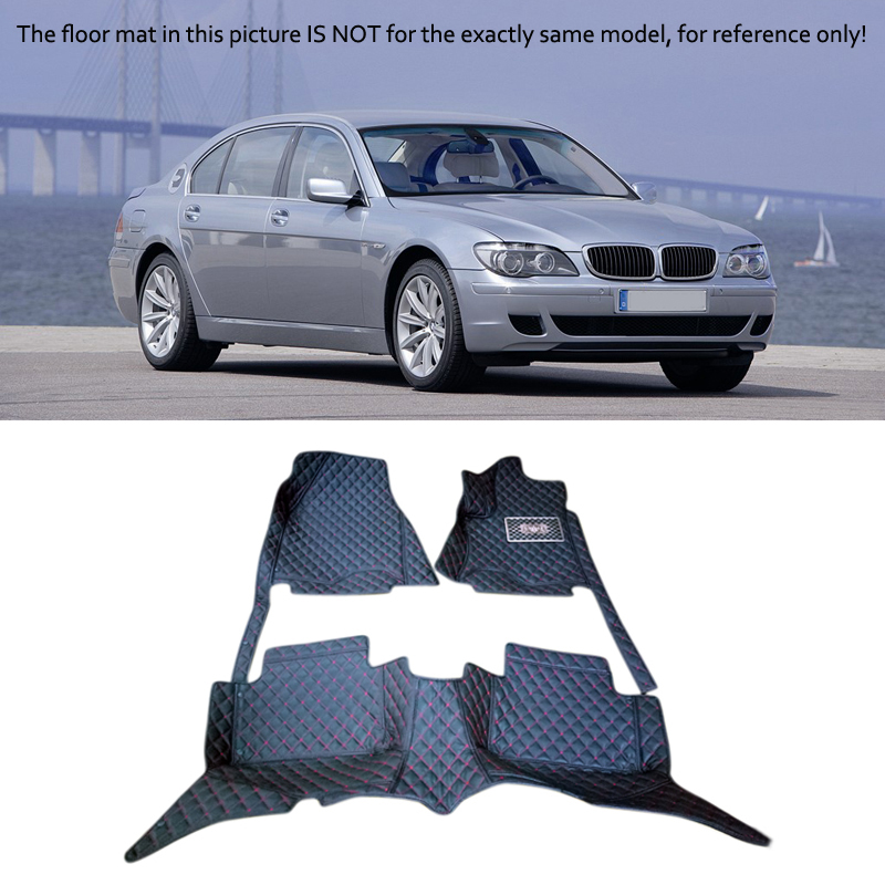 For BMW 7 Series 2005 2006 2007 2008 Interior Leather Carpet Floor Mat Car Foot Mat 1set Car Styling accessories! 2004 2006 for bmw x5 e53 2004 2005 2006 accessories interior leather carpets cover car floor foot mat floor pad 1set