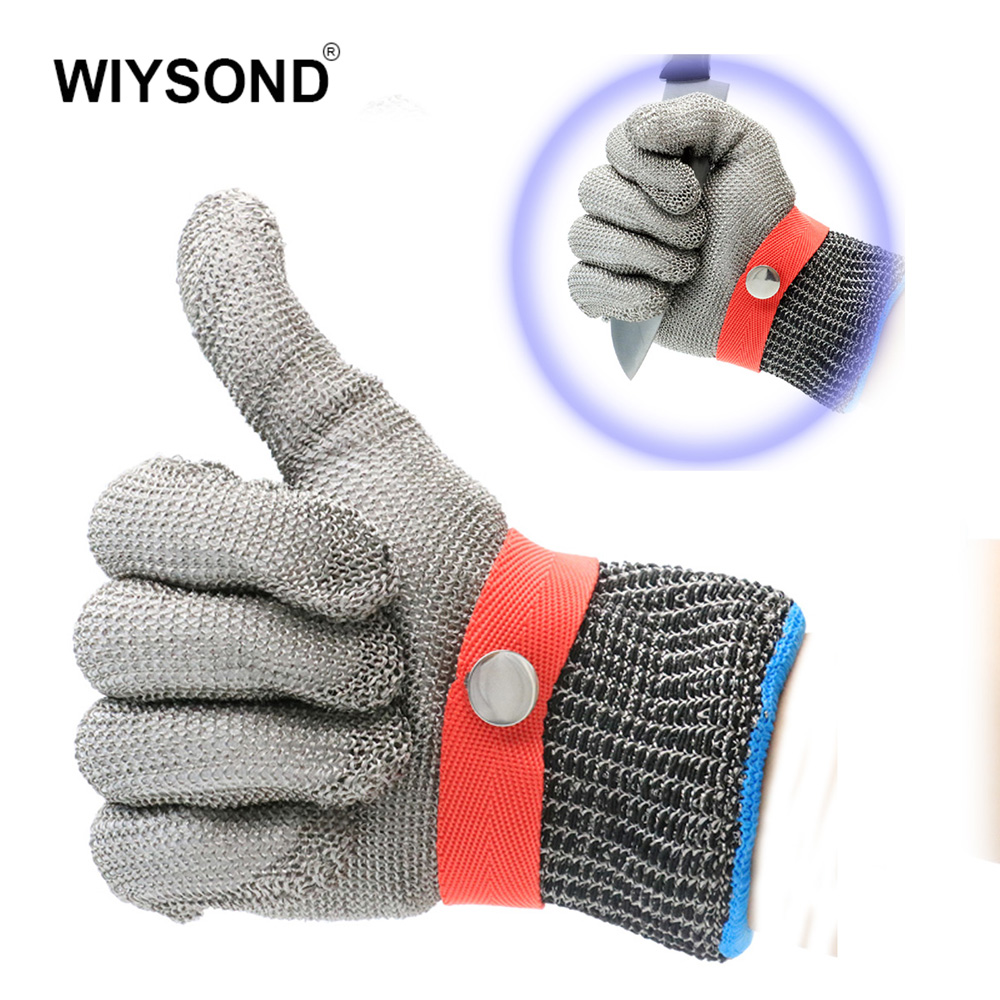 LB102 316L Stainless Steel Wire Mesh Cut Proof Resistant Chain Mail Protective Glove for Working Safety Level 5 Protection