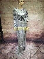 Роскошные Блестящие кристаллы серебра платье костюм Для женщин День Рождения Праздновать Платья для вечеринок певица сцена наряд