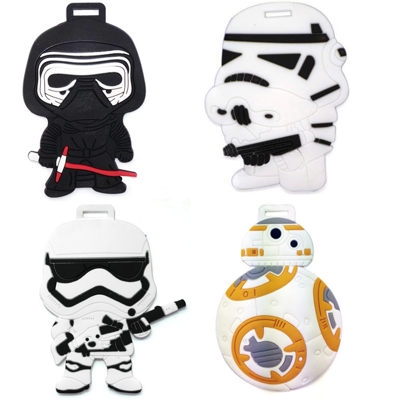 1PC Luggage Tags Travel Bags Accessories Classic Lovely Cartoon Film Stormtrooper & Black Knight Suitcase PVC Name ...
