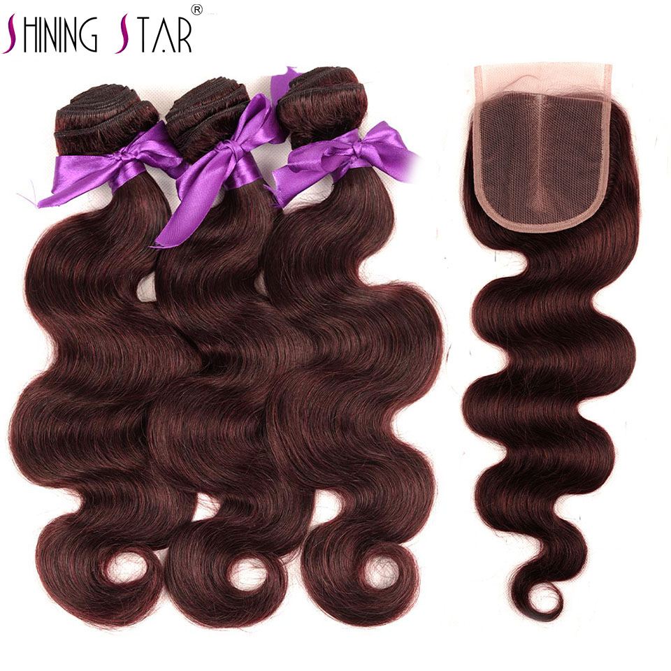 Red Burgundy Brazilian Body Wave 3 Bundles With Lace Closure Human Hair Weave Bundles With Closure Shining star None remy Hair
