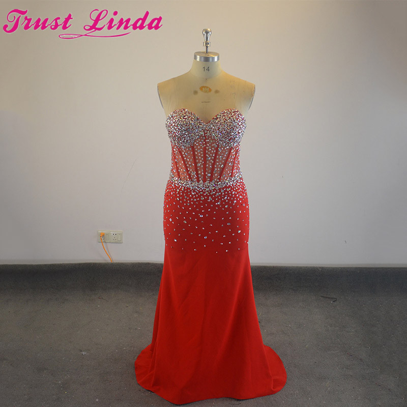 100% Real Show Red Beading Crystal Sweetheart Sexy Mermaid   Bridesmaid     dresses   2018 Prom   dresses   Party Wear Plus Size Gowns