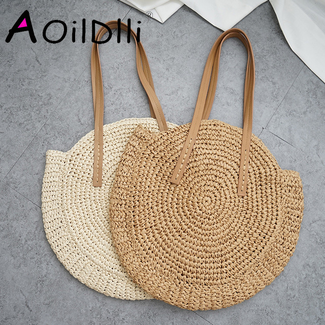 Round Straw Beach Bag Vintage Handmade Woven Shoulder Bag Raffia circle Rattan bags Bohemian Summer Vacation Casual Bags knitting
