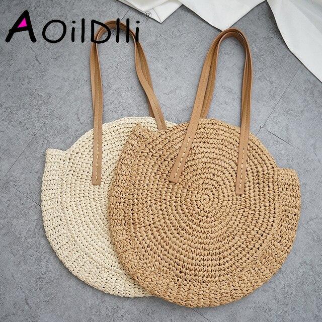 Bolsa de palha redonda para praia, bolsa casual feita em palha trançada a mão de ombro, estilo boêmio, ideal para férias
