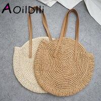 Bolso de playa redondo de paja Vintage hecho a mano bandolera tejido bolso rafia círculo ratán bolsas bohemias vacaciones de verano Casual bolsas|Bolsos de hombro| |  -