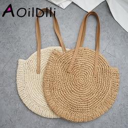 Round Straw Beach Bag Vintage Handmade Woven Shoulder Bag Raffia circle Rattan bags Bohemian Summer Vacation Casual Bags