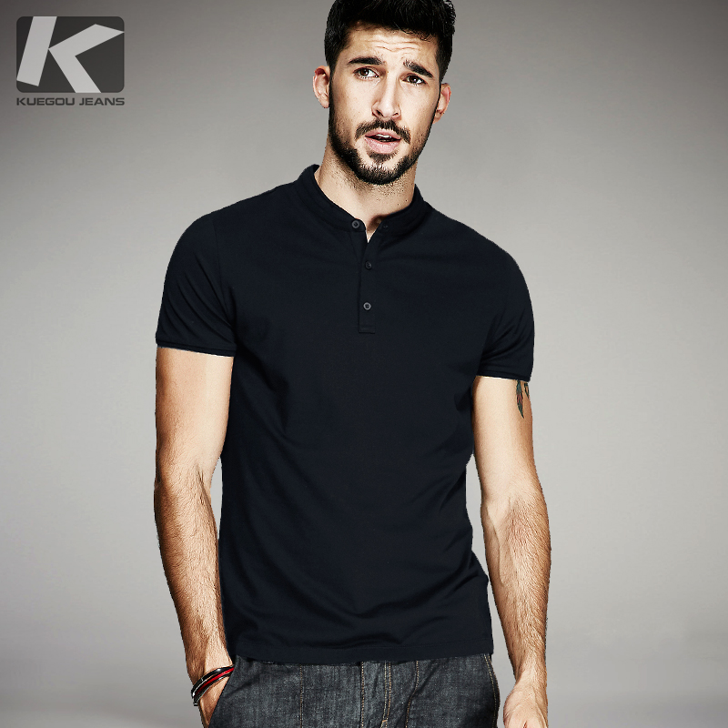 KUEGOU Summer Mens Casual T-Shirts Button Black Color Brand Clothing Mans Short Sleeve Slim T Shirts Male Wear Tops Tees 1221