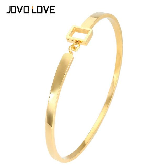 62f0d44d6483 Classic Stianless Steel Open Cuff Bracelets Small Rectangle Gold Bangle  Bracelet Famous Brand Jewelry for Women Pulseira