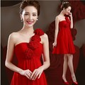 2017 Free shipping Red Chiffon One -shoulder Homecoming Party Gowns Cocktail dresses Robe de soiree TK505