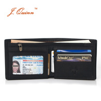 J Quinn Front Pocket Credit Card Wallet For Men Soft ID Genuine Leather Wallets With Zipper