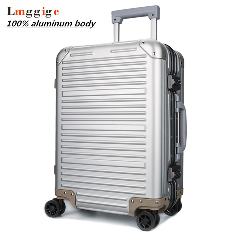 цена на 100% Full Aluminum Rolling Luggage Bag,Matte Travel wheel Suitcases,New Strong Carry-On Box, 20 High-grade Trolley Case