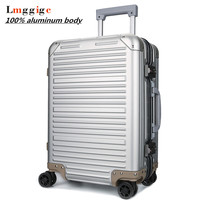 100% Full Aluminum Rolling Luggage Bag,Matte Travel wheel Suitcases,New Strong Carry On Box, 20 High grade Trolley Case