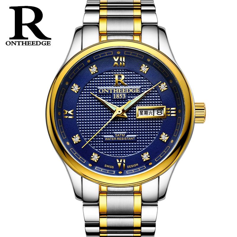 купить RONTHEEDGE Quartz Watch Stainless Steel Band Auto Date Diamond Luxury Business Wristwatches Male Watches with gift box RZY025 недорого