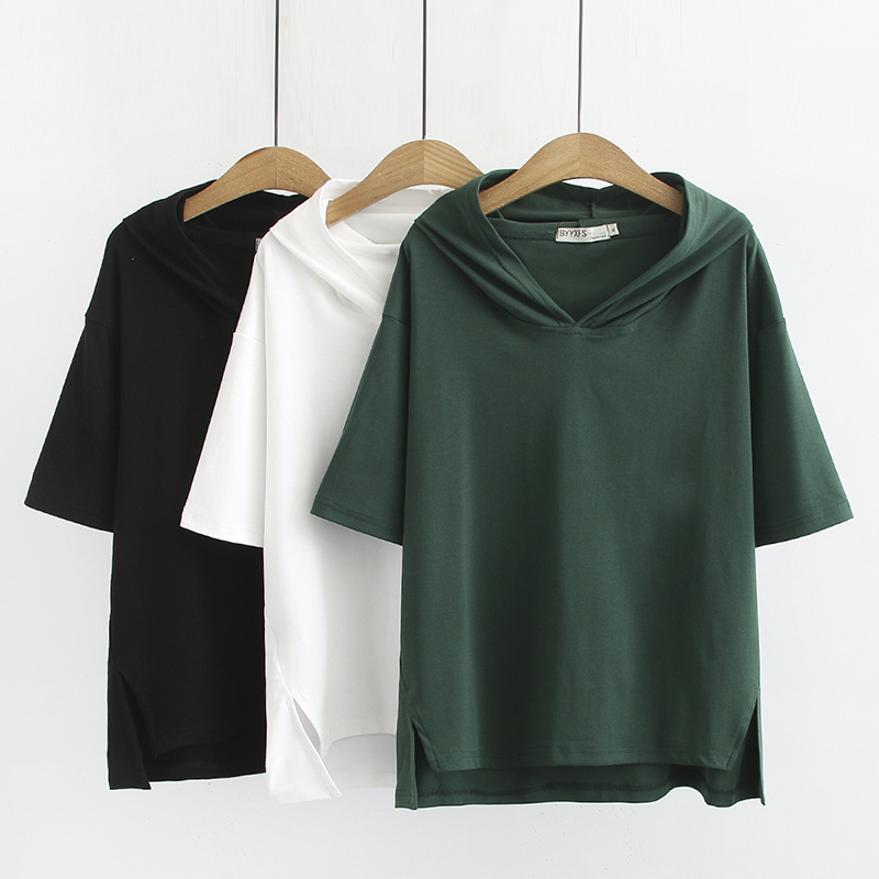 Summer Women Sweatshirts Lady Hooded Tops Woman Short Sleeve Hoodies Plus Size Casual Fashion Loose S56-829