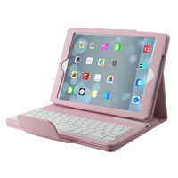 Detachable Bluetooth Wireless ABS Keyboard PU Leather Protective Case For Apple IPad Air Pink