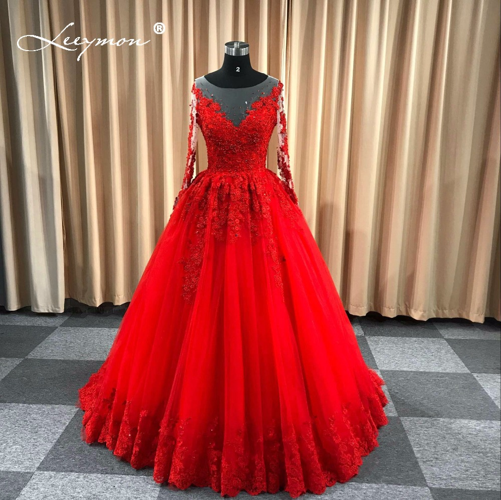 Leeymon Red Wedding Gown Long Sleeves Lace Wedding Dress