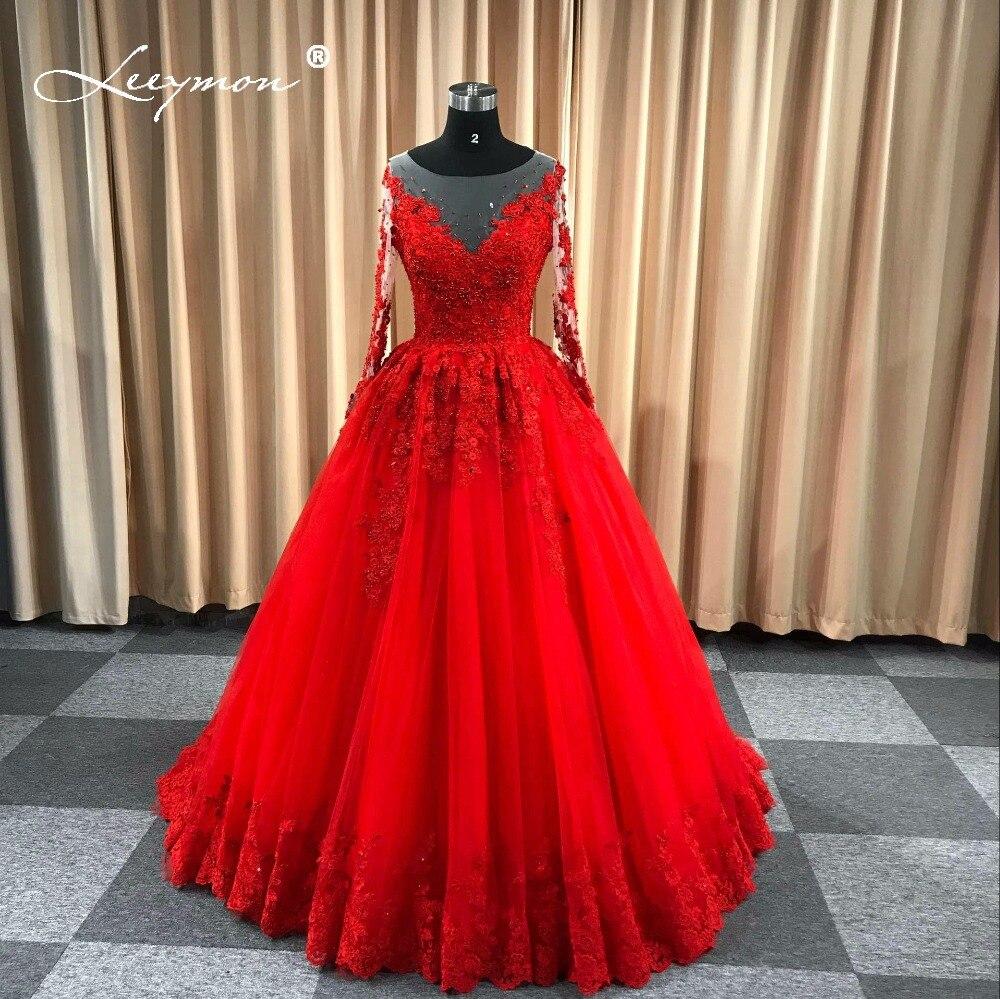 Leeymon Red Wedding Gown Long Sleeves Lace Wedding Dress 2020
