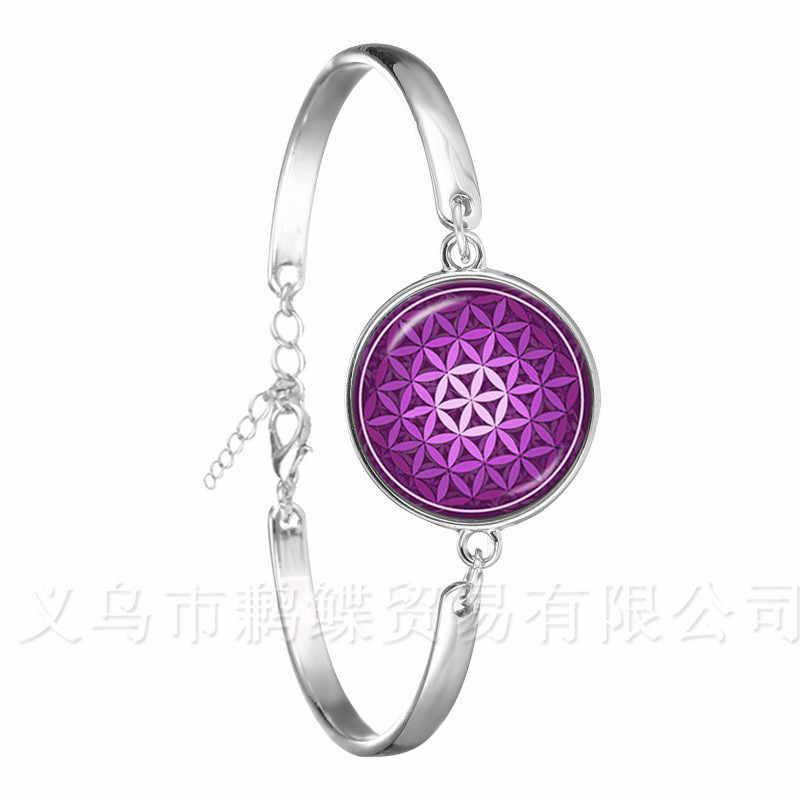 Mandara זכוכית כיפת צמיד טרנדי צ 'אקרה המנדלה זכוכית תכשיטים גיאומטרי פרח מתנה למשפחה OM יוגה שרשרת צמיד לנשים