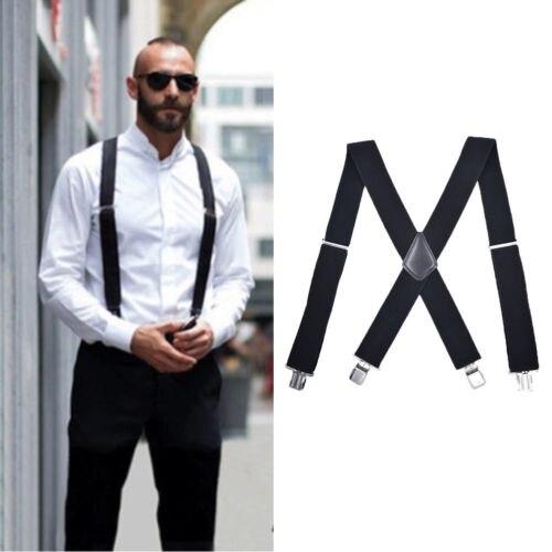Special Section Mens Braces Suspenders Black Back Heavy Duty Soft Snowboard Trousers Belt