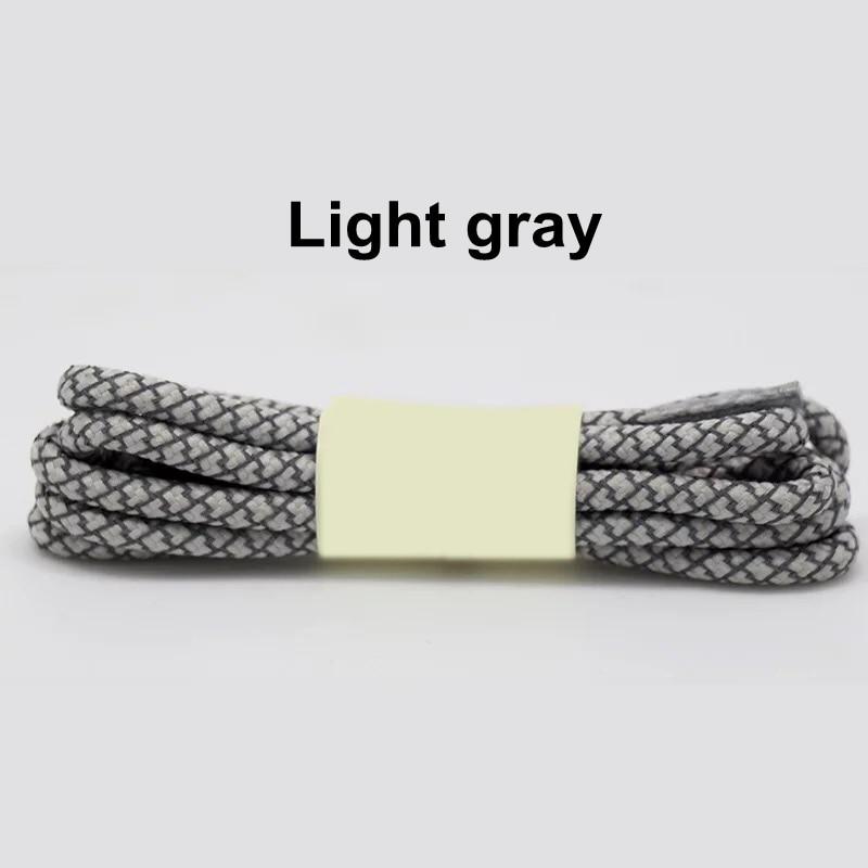1 пара флуоресцентных кроссовок шнурки спортивные шнурки полиэстер Пейсли светоотражающие шнурки Ронды видимая безопасность кордон обуви кружева - Цвет: Light gray