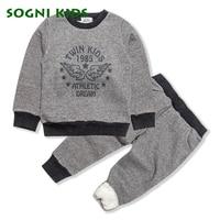 SOGNI KIDS Boys Clothing Set Coat T Shirt Pant Three Pieces Long Sleeved Kid Cotton Suit
