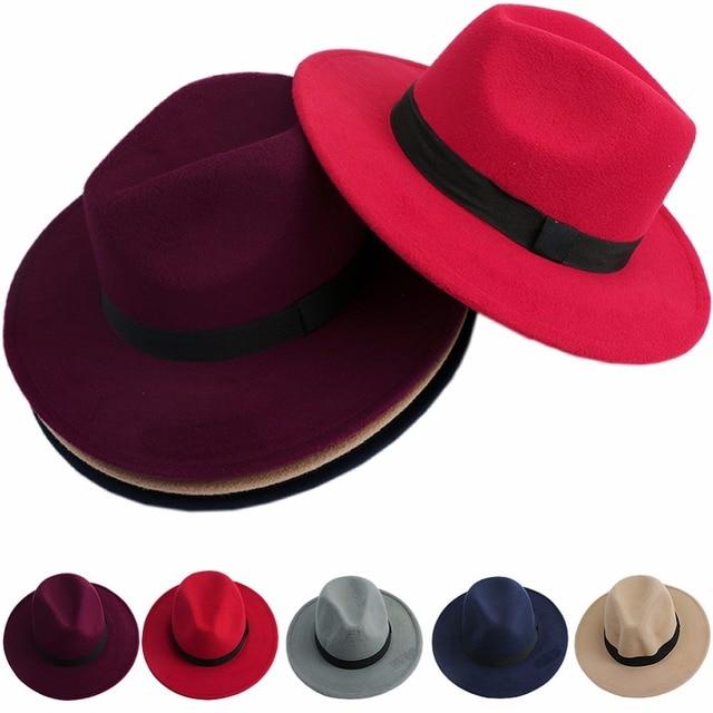 Men Women Jazz Bowknot Hard Felt Fedora Bowler Panama Wide Hat Brim  Gangster Cap-in Fedoras from Apparel Accessories on Aliexpress.com  231594dd6be6