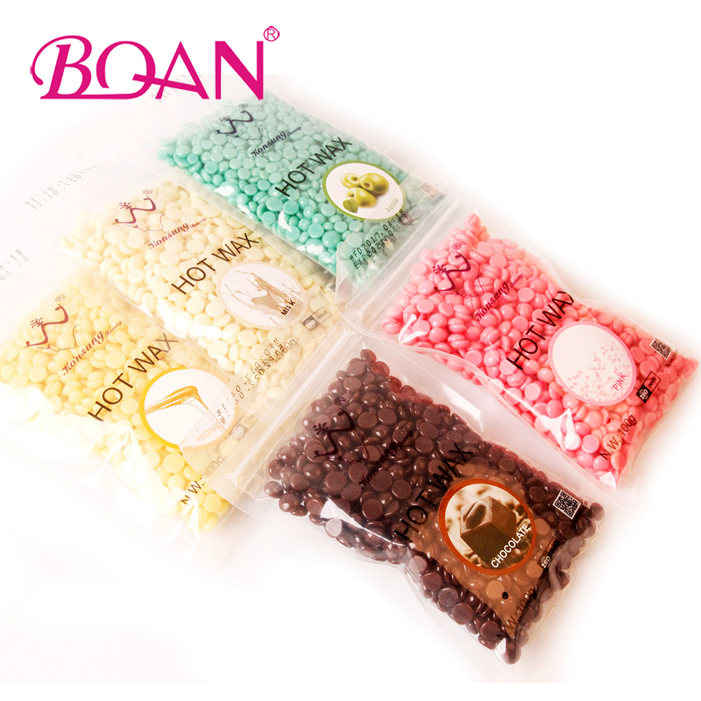 100g/bag Nail tools Chamomile Flavor No Strip Depilatory Hot Film Hard Wax Pellet Waxing Bikini Hair Removal Bean 5 color