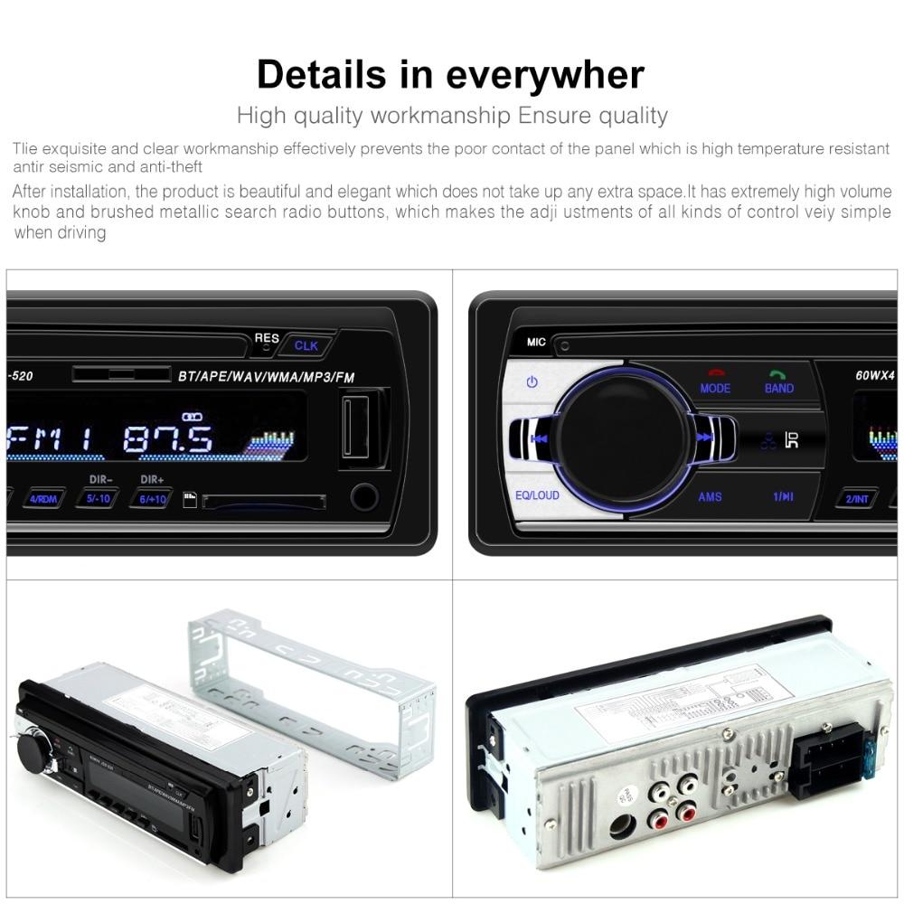 Авторадио JSD-520 авто стерео 1 Din автомагнитола 12 в bluetooth V2.0 FM Aux Входной приемник автомобильный аудио SD USB MP3 MMC WMA jsd 520