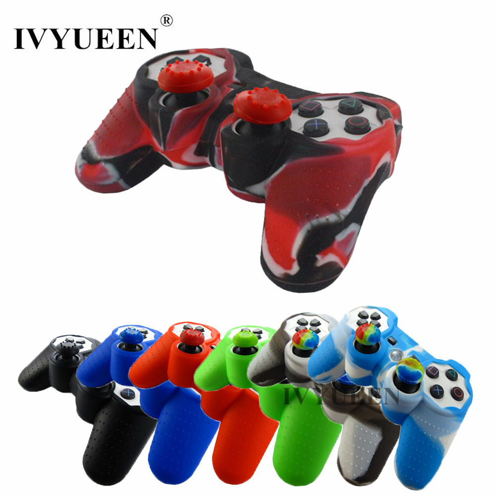 IVYUEEN 2 In 1 Silicone Gel Rubber Skin Case + 2 X Thumb Sticks Grips Cap Cover For Sony PlayStation Dualshock 3 PS3 Controller