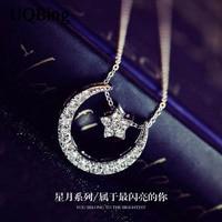 925 Sterling Silver Moon Star Necklaces Pendants Pure Sterling Silver Chain Necklace Jewelry Collar Colar De