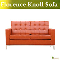 U-BEST Florence Knoll Estilo inspirado 2-sede Bancada, top grain real couro 2-seater sofa, relaxar sofá de alta qualidade para hotel