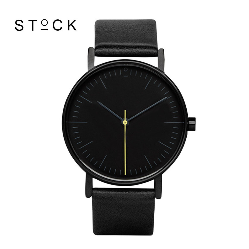 <font><b>STOCK</b></font> Quartz Watch Men Top Brand Black Leather Watches Relojes Hombre <font><b>2016</b></font> Horloge Orologio Uomo Montre Homme clock S001K