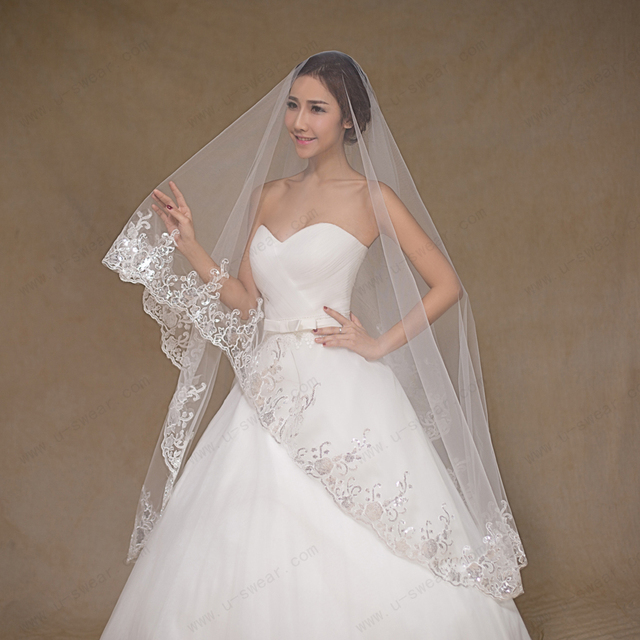 Bridal Veil Ivory Veil Lace Edge Wedding Veil With Beads wedding vail Wedding Accessories veu de noiva com renda Longo