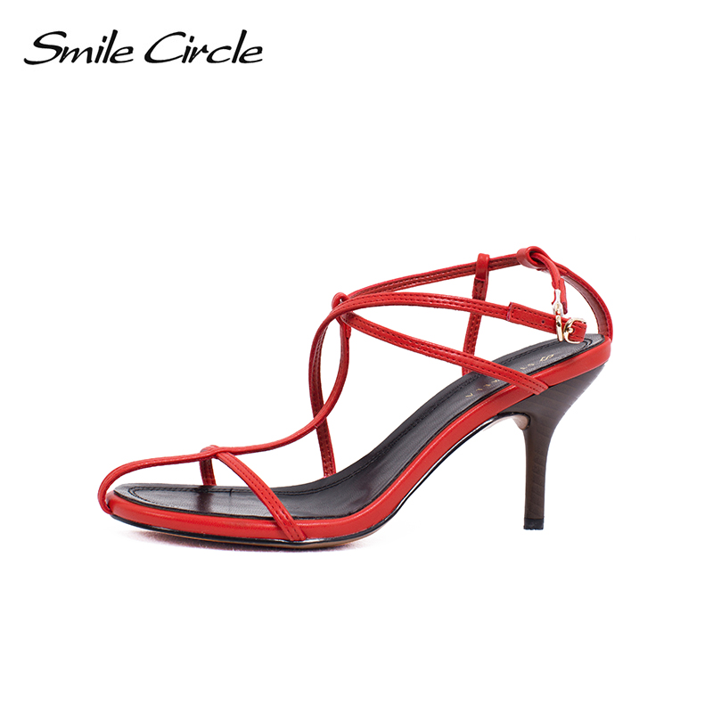 Smile Circle 2018 Summer Sexy Sandals Fashion Women shoes high heels Round toe Single shoes Woman Open toe Sandals msstor round toe open toed women sandals fashion crystal high heels women sandals new summer wedges high heel sandal woman shoes