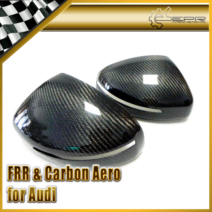 Car-styling For Audi TT MK2 06-14 (Type 8J) Carbon Fiber Mirror Cover (Stick on type) Glossy Fibre Auto Racing Side Body Kit