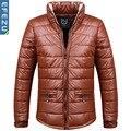 Hombres 2016 de invierno de cuero de LA PU abrigo grueso acolchado de plumas chaqueta informal
