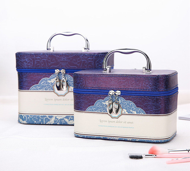 Women's cartoon pattern cosmetic box large capacity PU leather makeup box