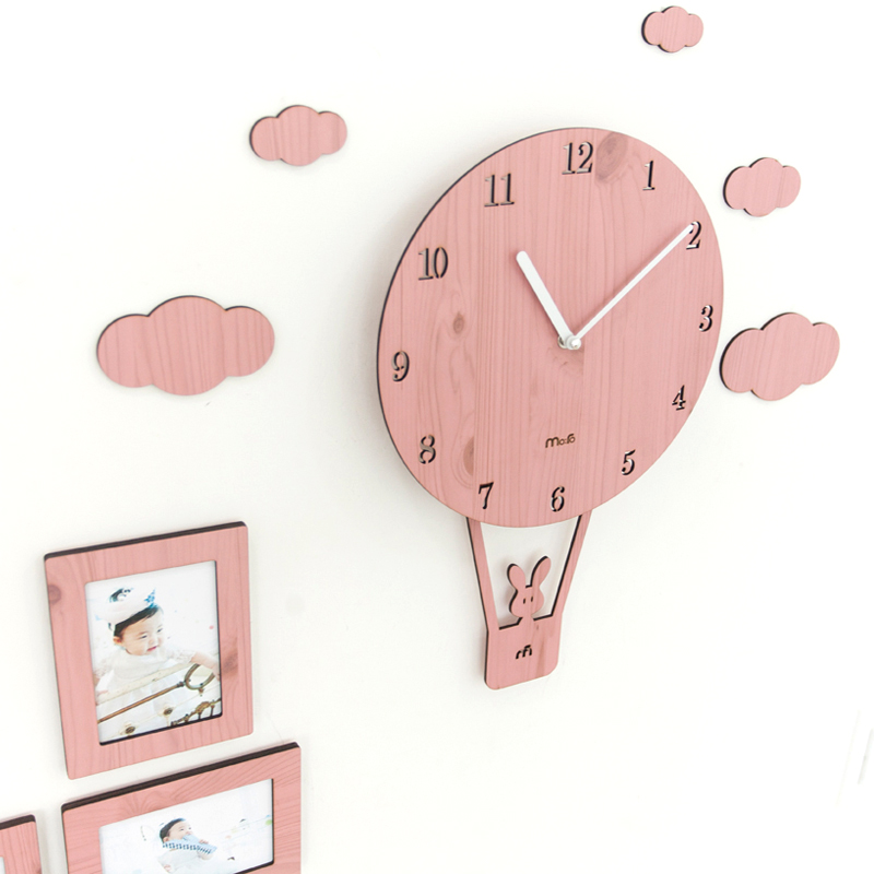 4 Colors Pink Carton Kids Room Wall Clocks with Clouds Unique ...