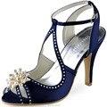 Azul marino Pedrería perla Correa Del Tobillo Sandalias de Tacón Alto de Satén Bombas Mujeres Zapatos de Boda de Novia Damas de honor EP11058 Teal