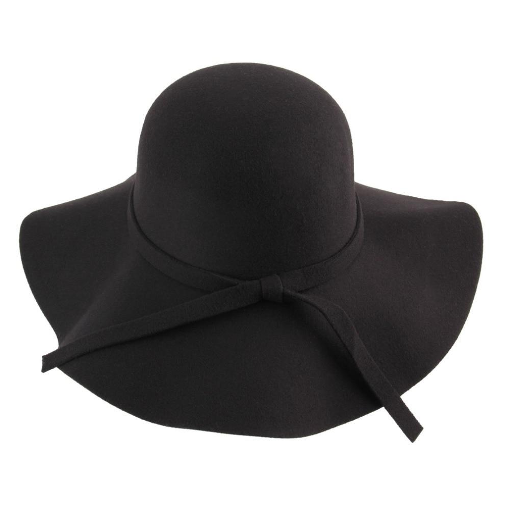 Spring Fedora Hat Vintage Women Wool Felt Wide Brim Bowler Jazz Church Cloche Cap chapeu sombreros lana gorros cappelli
