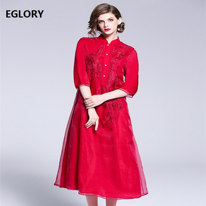 Blanc rouge Vintage Prom Feminino robe automne 2018 femmes exquise broderie trois quarts manches mi mollet robe de grande taille 1950 s