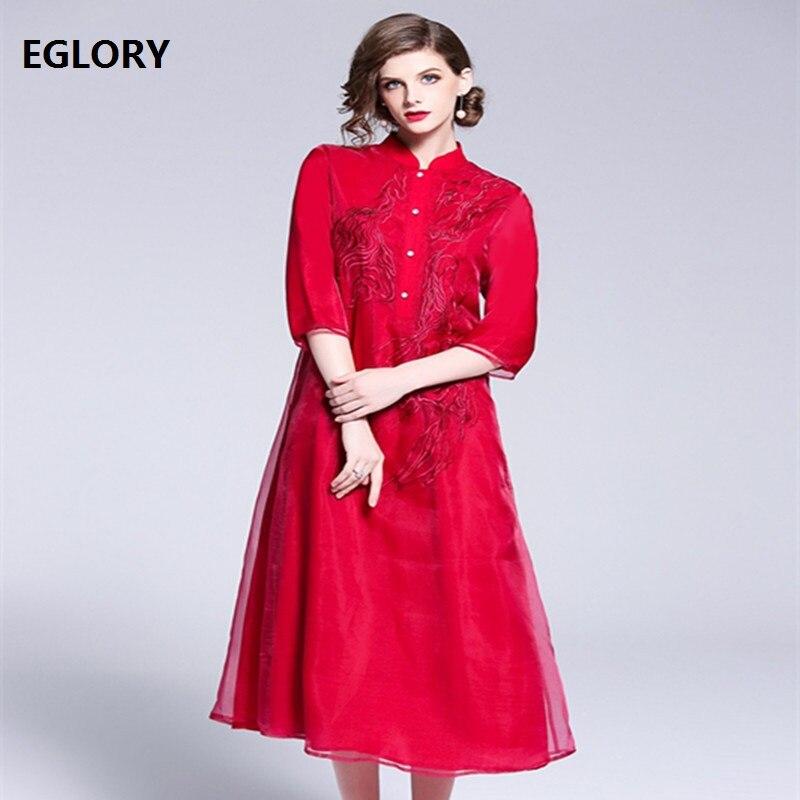 Blanco rojo Vintage Prom vestido femenino otoño 2018 mujeres exquisito bordado Becerro de La Manga del cuarto de tres más El vestido del tamaño 1950 s