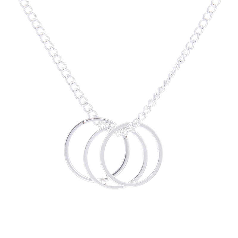 ZHIMO عيد الحب هدايا الذهب والفضة اللون سلسلة قصيرة دائرة قلادة للنساء رسالة بطاقة قلادة مجوهرات الرقبة