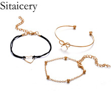 Sitaicery 3PCS/Set 2019 Love Heart Bohemian Bracelets For Women Charms Bow Knot Gold Bracelet Bangles Jewelry Valentines Gifts
