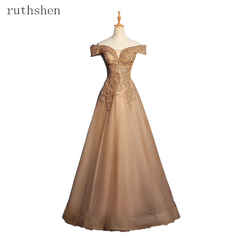 2019 Gorgeous   Prom     Dresses   Appliques Beading Tulle Evening   Dresses   Long A Line Formal   Dress   Off The Shoulder Robe De Soire