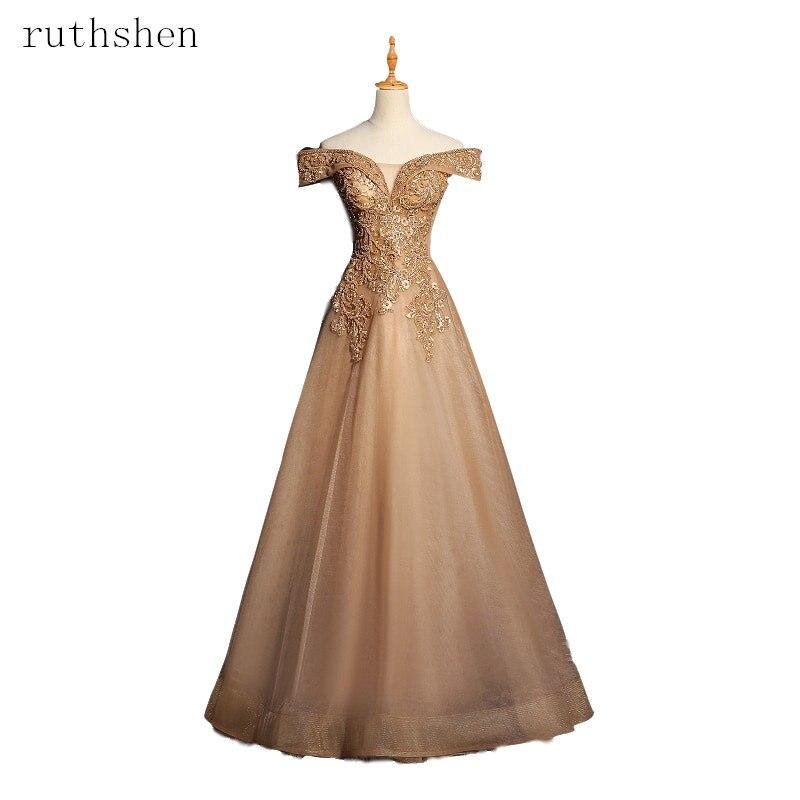 2019 Wunderschöne Prom Kleider Appliques Perlen Tüll Abendkleider Lange Eine Linie Formale Kleid Weg Von Der Schulter Robe De Soire