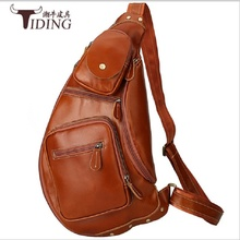 Men Travel Chest Bag Genuine Leather Moon Bags Brown Male Casual Business Vintage Fashion Brand Chest Pack Vintage Bags