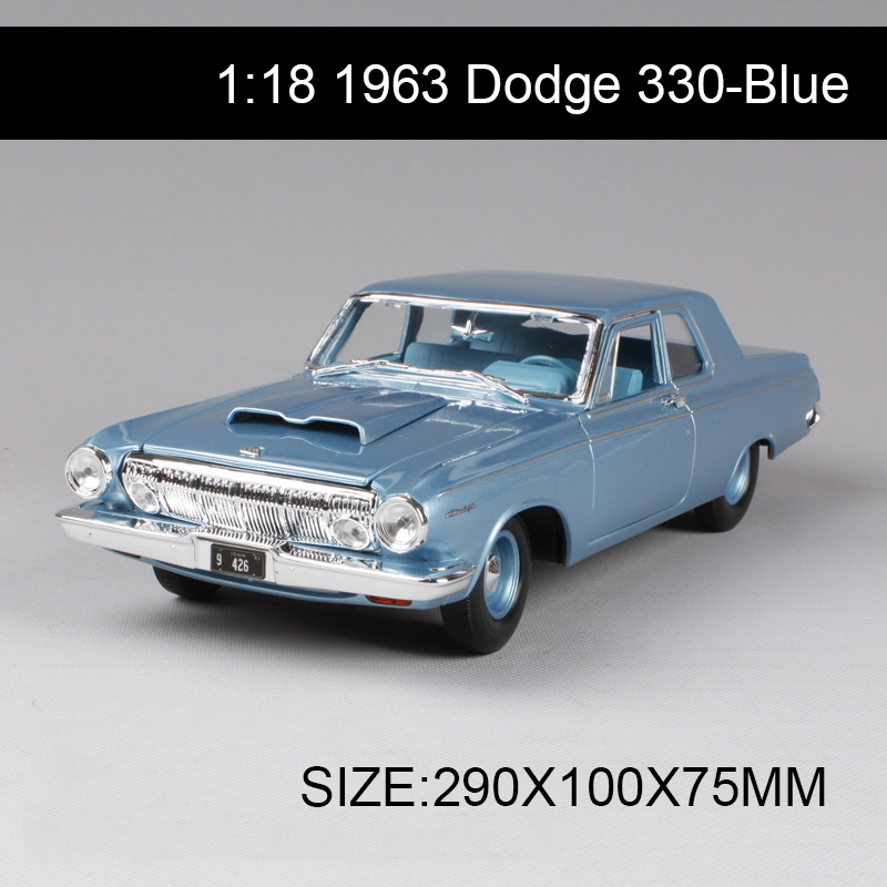 цена на 1:18 diecast Car 1963 Dodge 330 Coupe Classic Cars 1:18 Alloy Car Metal Vehicle Collectible Models toys For Gift Collection